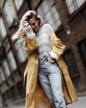 coat,tumblr,trench coat,yellow,yellow coat,top,stripes,striped top,denim,jeans,light blue jeans