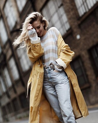 coat tumblr trench coat yellow yellow coat top stripes striped top denim jeans light blue jeans