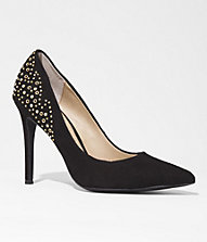 SUEDE STUDDED POINTED TOE RUNWAY PUMP | Express