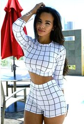top,white,crop top shorts set,sexy party outfit,bodycon jumpsuit,bodycon,bodycon dress,white shorts,white top,long sleeves,high waisted,moraki,blouse,dress,jumpsuit,romper,shorts,skirt,t-shirt,tank top,crop tops,black and white plaid flannels,white  plaid,white 2 piece crop top shorts  set,white crop tops,sexy,two-piece,two piece dress set,two piece jumpsuit,two pieces jumper,bodycon romper,High waisted shorts