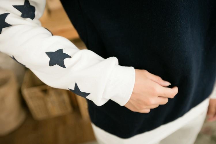 Korean version of new women's thick fleece long sleeve crew neck sweater pocket fleece stars (blue)