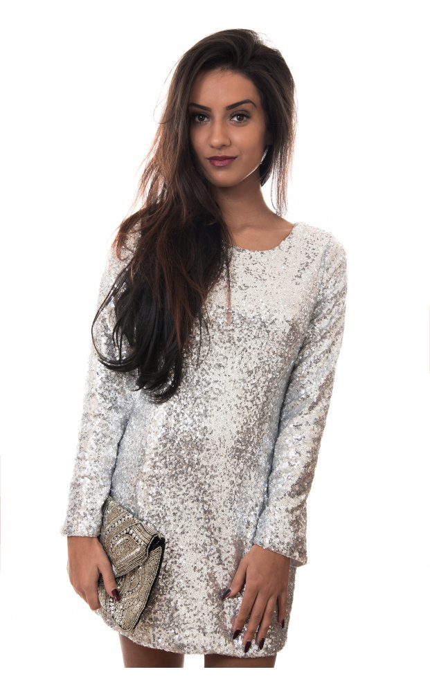 Silver Sequin Dress - Silver Long-sleeved Sequin Scoop Back | UsTrendy
