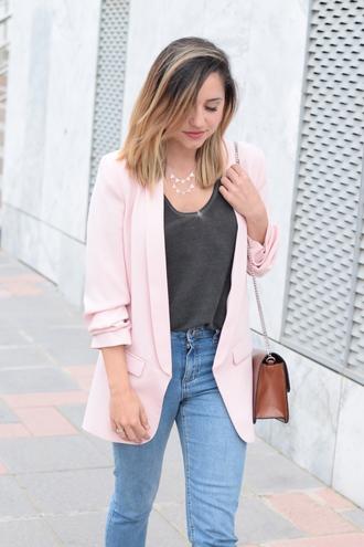 jewels tumblr blazer pink blazer denim jeans blue jeans top black top silver necklace silver jewelry jewelry bag brown bag