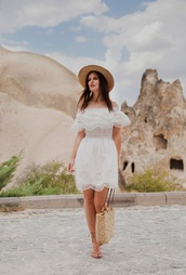 dress,off the shoulder,embroidered dress,woven bag,flat sandals,straw hat
