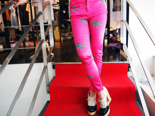 pants printed pants fucshia pink tiger tiger clothe