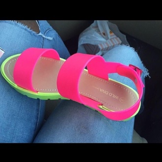 shoes pink sandals flats wilddiva opentoed
