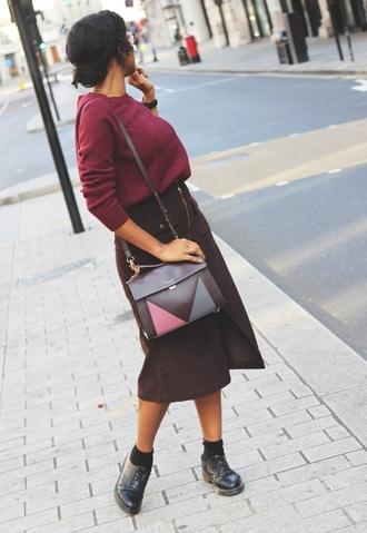 sweater skirt tumblr burgundy burgundy sweater midi skirt shoes black shoes bag
