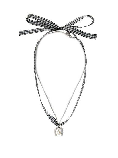Miu Miu necklace gingham black jewels