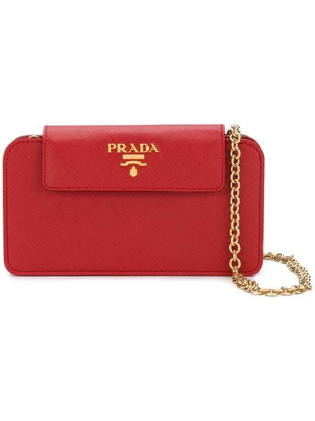 Prada women bag clutch leather red