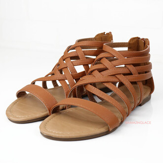 shoes back zipper cognac cognac sandals strappy sandals amazinglace