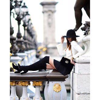 bag tumblr mini skirt black skirt top white top hat black hat fall outfits boots black boots high heels boots over the knee boots over the knee gucci gucci bag