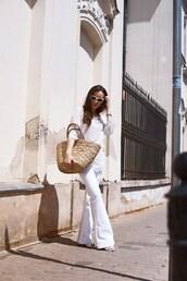 blouse,tumblr,white top,bag,woven bag,pants,white pants,flare jeans,sunglasses,jeans