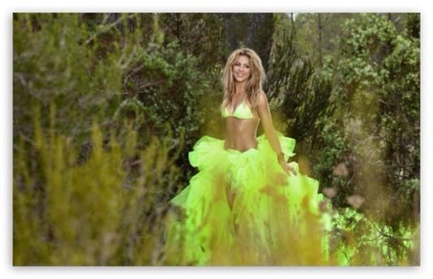 dress bikini top neon yellow shakira chiffon