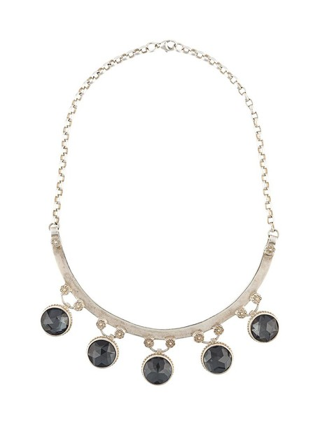 Marlo Laz women gypsy necklace silver grey jewels
