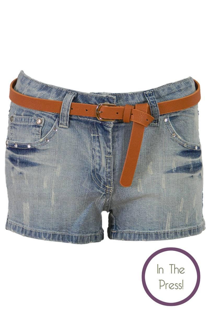 Kendra Denim Belted Hot Pant