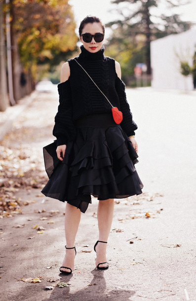 hallie daily blogger sunglasses off the shoulder sweater cut-out winter sweater ruffle black skirt sandals red bag lips sweater skirt shoes bag jewels cut-out shoulder sweater turtleneck sweater turtleneck ruffle skirt black sunglasses sandal heels high heel sandals black sandals black cable knit sweater