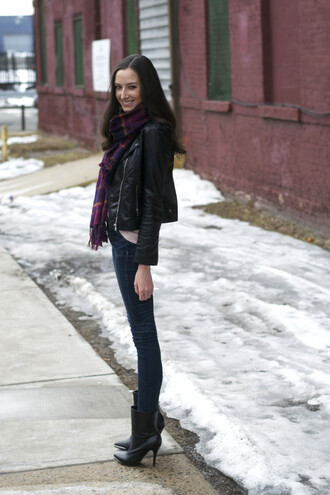the glam files blogger leather jacket tartan scarf