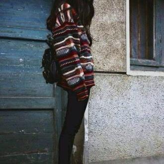sweater red pattern dark aztec boho boho chic hipster bohemian sweater hipster sweater
