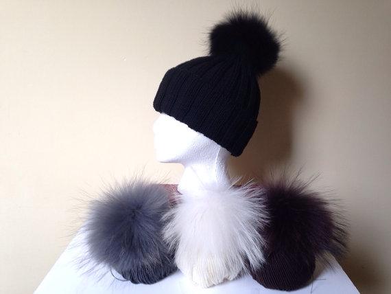 Ribbed Wool Beanie Hat Raccoon Fur Pom Pom by HandmadeKnitsHats ef1491aae36e