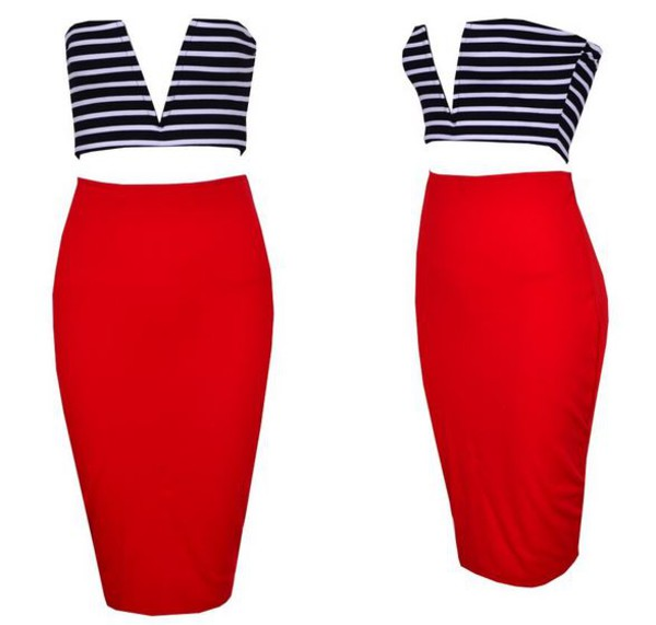 stripes two-piece two-piece two-piece couture chic v neck crop top 2 piece blue and red