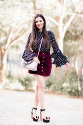 crimenes de la moda,blogger,top,skirt,sunglasses,jewels,bag,shoes,bell sleeves,button up skirt,mini skirt,polka dots,sandals,platform sandals