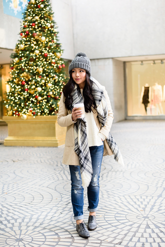 the fancy pants report blogger scarf pom pom beanie winter outfits ripped jeans oxfords jacket sweater hat shoes