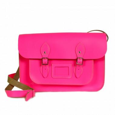 "Bohemia leather satchel bag, 14"" neon pink :: bohemia"