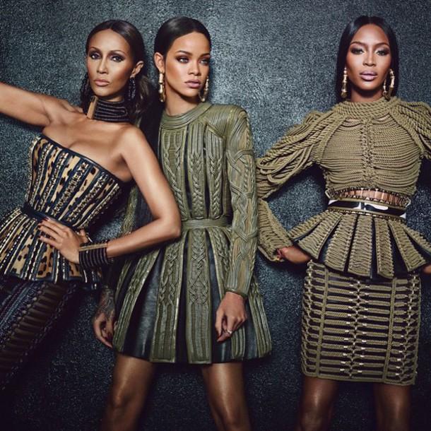dress rihanna naomi campbell balmain green dress black history month iman designer couture model