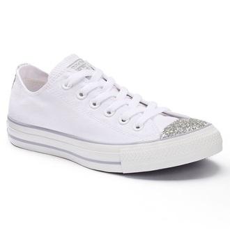 shoes converse white sparkle