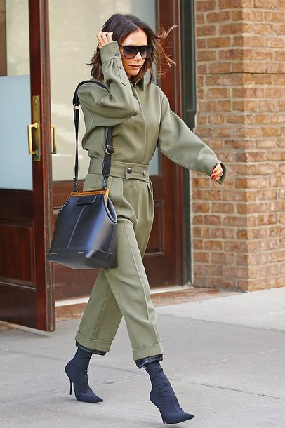 pants military style victoria beckham celebrity two-piece shirt fall outfits fall colors