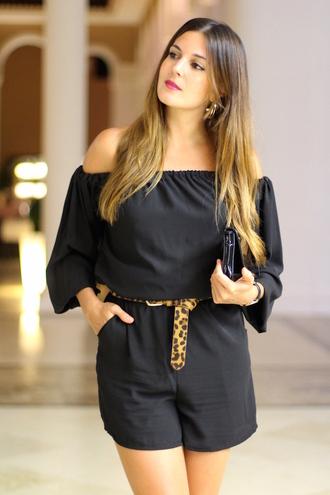 marilyn's closet blog blogger romper belt off the shoulder black romper leopard print