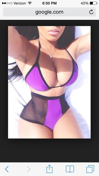 swimwear mesh bikini purple purple swimwear sheer