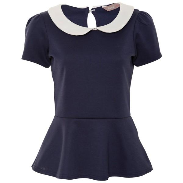 A|Wear Navy Peterpan Collar Peplum Top - Polyvore