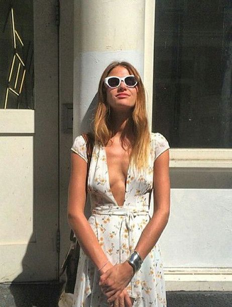 dress camille rowe floral floral dress wrap dress sunglasses