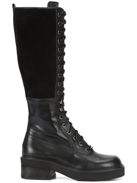 See by Chloe high women knee high combat boots leather suede black shoes