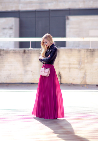 oh my vogue blogger jacket bag jewels maxi skirt pink skirt perfecto pleated skirt girly wishlist