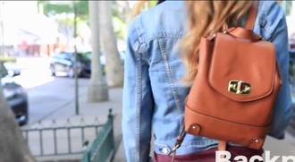 bag little leather brown denim backpack little backpack brown leather boots denim jacket fashion style casual new york city