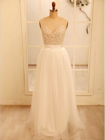 Cheap A line White Tulle Lace Wedding Dresses,V Back Wedding Dress, Lace Prom Dress, Bridal Dress, Formal Dress [B00209] - $199.99 : 24inshop