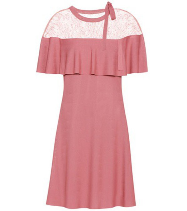 Valentino Lace-trimmed Crêpe Dress in pink