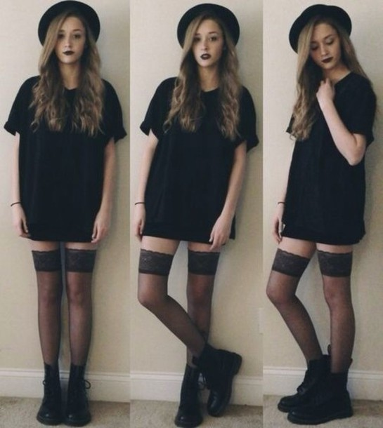 shirt dress black t-shirt dress tights black dress