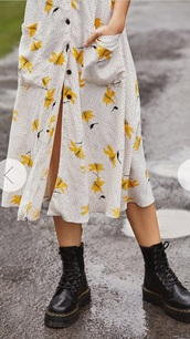 dress,skirt,yellow,lily,floral,button up skirt