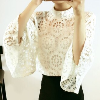 top lace white fashion trendy cool style turtleneck long sleeves crochet summer rose wholesale-jan