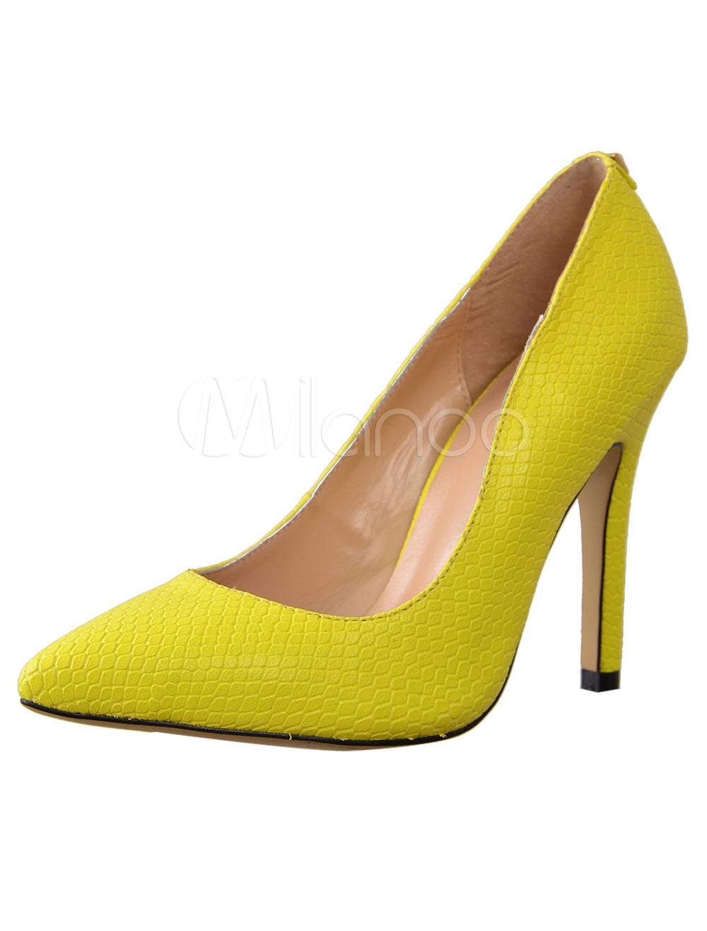 Yellow Fish Print Sheepskin Pretty Womens Pointy Toe Heels  - Milanoo.com
