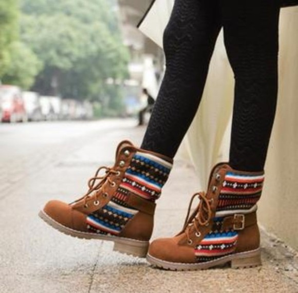 shoes boots winter brown colourful winter boots adorable love pattern native print brown boots tribal pattern tribal boots