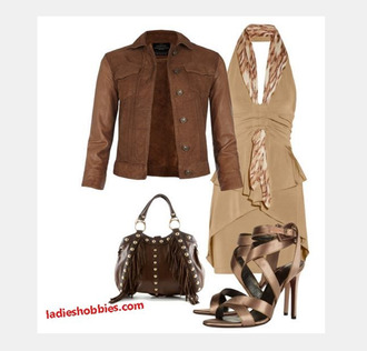 dress short dress cross over dress v neck dress plunge v neck halter top two tone jacket coat leather jacket purse bag frilled purse heels high heels sandy brown ruched dress layered dress clothes outfit