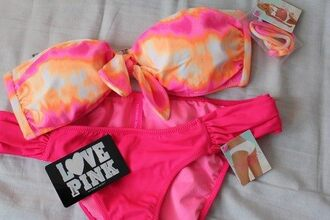 swimwear bikini pink ombre bandeau bikini pink by victorias secret hipster hippie pink swimwear tie dye swimwear