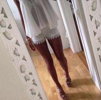 shorts shoes high heels sheer lace lace shorts shirt bracelets tank top beautiful