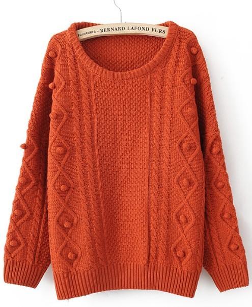 Orange Round Neck Long Sleeve Pom Embellished Pullovers Sweater - Sheinside.com