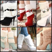 shoes,high heels,fluffy,winter outfits