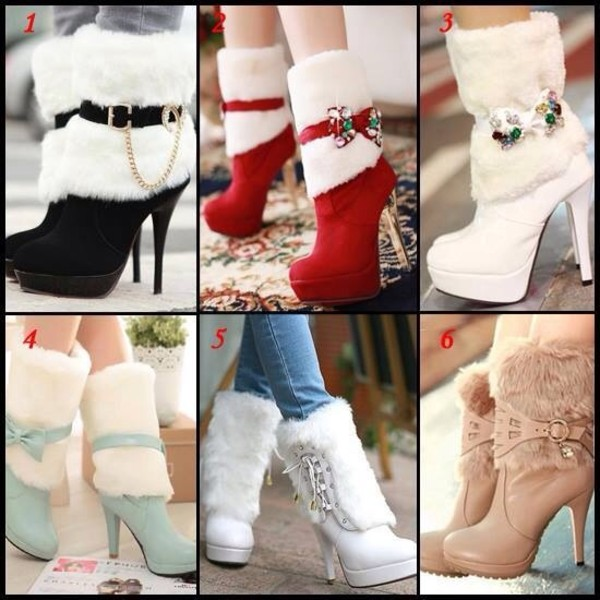 shoes high heels fluffy winter outfits